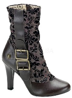 Tesla Boots Finally available! Damask tapestry cloth upper, brass fleur di lis buttons and a big double buckle. Good things DO come to those who wait! $69.95.