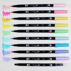 Choice of Tombow Dual Brush Pen Set of 10 Pastel Galaxy Brush Pen Art, Tombow Dual Brush Pen, Tombow Pens, Marker Kunst, Marker Art, Lettering Brush, Hand Lettering, Cool School Supplies, Blender Pen