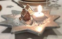 """Coupelle """"étoiles"""" , dans les tons bleu glacier,  illuminée d'une bougie ... et de Jolis petits Chalets"""