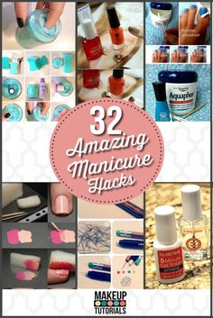 32 Amazing Manicure Hacks   Easy DIY nail art supplies, nail art designs and more at Makeup Tutorials. http://makeuptutorials.com/makeup-tutorials-32-amazing-manicure-hacks/ #makeuptutorials