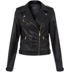 Black Leather-Look Aztec Biker Jacker, a nice jacket to thrown on to ward off the cold and yet to give your dinner a nice informal vibe @New Look