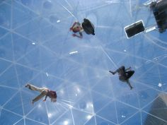 'Observatory, Air-Port-City, 2008' by Tomas Saraceno, Hayward Gallery, London: photo by Purple Cloud : 'Air-Port-City' was envsioned as a habitable platfrom which floated in the air like a cloud and constantly changed shape. Visitors entered the gigantic transparent space within a space through outside stairs,then could explore its possibilities and indulge in its special ambience. When facing downwards they could see themselves in the huge mirror at the base of the first level. http://tinyurl.com/675cnhl  #Purple_Cloud #Photography #Architecture #Tomas_Saraceno #Air_Port_City