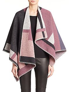 Burberry London Wool/Cashmere Plaid Cape