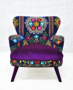 Patchwork armchair with Uzbek Suzani fabrics by namedesignstudio, $1600.00