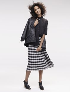 Madewell gingham midi skirt worn with the silk Courier shirt, quilted Session bomber jacket + Dakota cutoff boot.