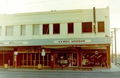 The Lyric music store and original entrance to Cinema Capri in Maude Street Shepparton. Hudsons Coffee is now where Lyric Music was on the corner