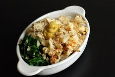 Roasted Cauliflower, Garlicky Spinach and Mustard-Hummus Rice Bowl (& A Vegan Mustard Tasting Party)