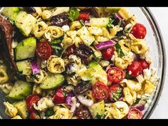 Quick and easy Greek Tortellini Pasta Salad with zesty Greek lemon dressing, fresh veggies, and hearty tortellini pasta will be your go-to potluck salad! Entree Recipes, Side Recipes, Greek Recipes, Cooking Recipes, Mediterranean Pasta Salads, Mediterranean Recipes, Dinner Side Dishes, Dinner Sides, Main Dish Salads