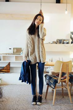via stylenanda skinny jeans converse and oversized oatmeal sweater  Everyday of my life, I would wear this.