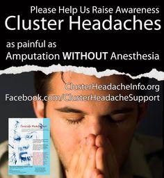 https://www.facebook.com/ClusterHeadacheSupport http://chsg.org Cluster headache #clusterheadache