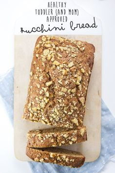 This Healthy Zucchini Bread is made with whole wheat flour, agave nectar, applesauce, olive oil, a good amount of zucchini and warm spices. A delicious and nutritious bread that is both toddler and mom approved! Confession, I have 5 loaves of this Healthy Zucchini Bread in my freezer ri