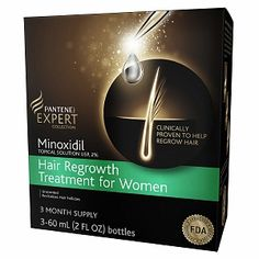 Pantene Pro-V Expert Collection Minoxidil Topical Solution USP, 2% Hair Regrowth Treatment For Women, Unscented, 3 Month Supply - 6 fl oz