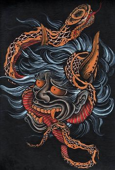 Scorned by Clark North Blue Asian Devil Serpent Tattoo Artwork Print – moodswingsonthenet
