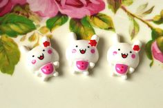 Resin Cabochons 6 pcs Lovely  Smiling Bunny Flat back Resin Cabochon Charm-White via Etsy