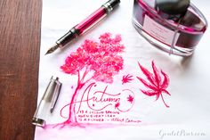 Whitney created this maple leaf drawing with a TWSBI Vac Mini Smoke fountain pen and Pilot Iroshizuku Momiji ink. Read this blog to find out how she did it!