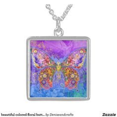beautiful colored floral butterfly necklace