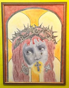 "Large Crayon Portrait of Christ   32.5"" Wide x 42.5"" High  $475  #fun4863  Rick's Antiques and Home Decor, Dealer #36  White Elephant Antiques  1026 N. Riverfront Blvd. Dallas, TX 75207"