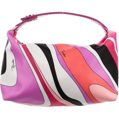 Pre-owned Emilio Pucci Graphic Print Satin Handle Bag (100 CAD) ❤ liked on Polyvore featuring bags, handbags, black, top handle handbags, woven purse, man bag, top handle bags and handle handbag