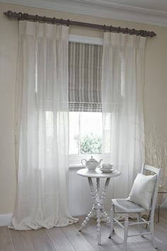 Our voile curtains and blinds look beautiful on their own but they can of course be paired with a heavier set of curtains and blinds. A fine option if you want a classic style with flexible light control.