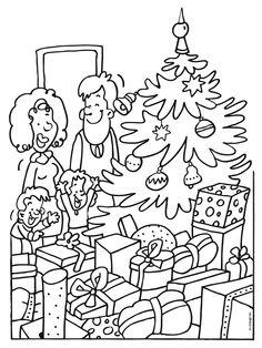 Kleurplaat Kerstboom in huis - Kleurplaten.nl