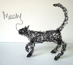 MEOW KITTY Standing Cat  One Of A Kind Wire by wireanimals on Etsy