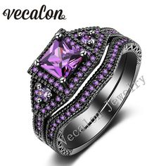 Vecalon Tremdy New Wedding Band Ring Set for Women purple AAAAA Zircon Cz 10KT Black Gold Filled Female Engagement ring