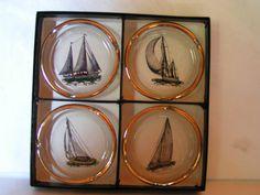 Super Vintage 1960s Retro Viking Glass Company Boxed Set of 4 Sailing Ships Ashtrays Perfect for Nautical or Maritime Decor