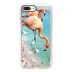 Flamingos on the beach iPhone and iPod Case - iPhone 7 Plus Case And... (224220 PYG) ❤ liked on Polyvore featuring accessories, tech accessories, iphone case, iphone cover case, apple iphone case, clear iphone case and iphone cases