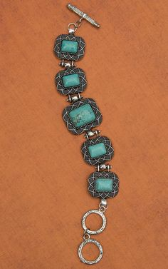 West & Co. Silver Rectangle Conchos with Turquoise Center Toggle Bracelet