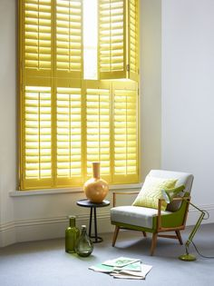 Add instant sunshine to your interior with yellow shutters. www.shutterlyfabulous.com