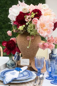 We adore this classic and chic table featuring many of our beloved patterns in Delft Blue mixed with Quinta Cork. Proof that the perfect mix doesn't always have to match Country Estate, Country Life, Delft, Tablescapes, Cork, Weaving, China, Table Decorations, Patterns