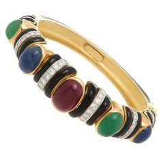 David Webb Enamel Gem Set Gold Platinum Bangle Bracelet | From a unique collection of vintage bangles at https://www.1stdibs.com/jewelry/bracelets/bangles/