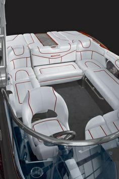 MasterCraft 2014 XStar Wrap around seating with convertible seat Boat Upholstery, Automotive Upholstery, Speed Boats, Power Boats, Wakeboard Boats, Pontoon Boats, Ski Boats, Baja Boats, Malibu Boats