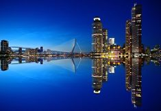 Man Made Rotterdam  Erasmus Bridge Night Water Bridge Reflection Netherlands Building Skyscraper City Wallpaper