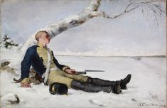 Haavoittunut soturi hangella (Wounded soldier on the snow) by Helene Schjerfbeck, oil on canvas, Ateneum Art Museum Helene Schjerfbeck, Gloomy Sunday, Wounded Warrior, Ecole Art, Chur, Art For Art Sake, Memento Mori, Portrait Art, Portraits