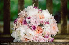 Soft and romantic bridal bouquet peach and purple wedding - Flowers by KP Event Design in Kansas City - Kansas City Florist