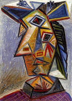 Pablo Picasso - 1939 TИte de femme 1 l Arts painting cubism Pablo Picasso, Picasso Cubism, Picasso Drawing, Picasso Portraits, Picasso Paintings, Georges Braque, Modern Art, Contemporary Art, Cubist Movement