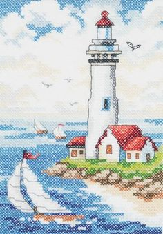 Search: stamped cross stitch > - Lighthouse Stamped Cross Stitch Kit: A Cherry On Top Funny Cross Stitch Patterns, Cross Stitch Kits, Cross Stitch Designs, Cross Stitching, Cross Stitch Embroidery, Cross Stitch Landscape, Crochet Cross, Embroidery Techniques, Needlework