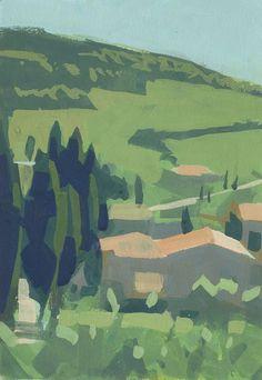 ©Frank Hobbs: Monticchiello, gouache on rag paper. Pierre Auguste Renoir, Abstract Landscape, Landscape Paintings, Imagen Natural, Bay Area Figurative Movement, Summer Painting, Guache, Gouache Painting, Texture Art