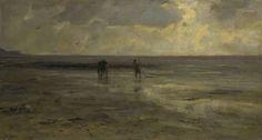 Jacob Maris | Strand bij avond, Jacob Maris, 1890 | Gezicht over een strand bij avond, in het midden een schelpenvisser met paard en wagen.