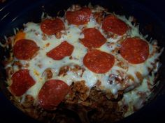 This was a hit with my husband and kids.  The only thing I would change is that I would dice and fry the pepperoni to rid it of the greasiness and to bring out the pepper flavor.  Other than that this was a great easy crockpot recipe.