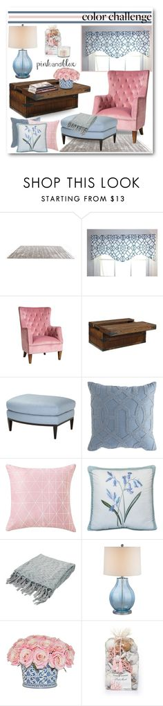 """""""Color Challenge:  Pink and Blue"""" by brendariley-1 ❤ liked on Polyvore featuring interior, interiors, interior design, home, home decor, interior decorating, Sasson Home, Signature Design by Ashley, Theodore Alexander and Pier 1 Imports"""