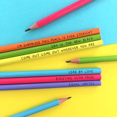 "U Studio are super PROUD to launch these colourful rainbow pencils celebrating all things LGBT.   Each rainbow hued pencils comes with its own witticism:  ""I'm surprised this pencil is even straight"" ""Come out, come out wherever you are"" ""Equal writes""  ""Bursting with pride"" ""Gay is the new black""  #design #illustration #gift #product #fun #cute #stationery #ustudio #lgbt #gay #lesbian"