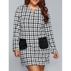#Rosewholesale - #Rosewholesale Houndstooth Long Sleeve Shift Tunic Dress - AdoreWe.com