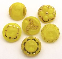 """Vintage MOONGLOW Buttons, Lot of 6 Yellow w/Gold Luster, Glass, Flowers 3/4"""""""