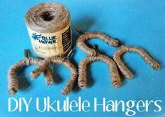 DIY Ukulele Hangers made with jute