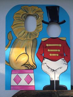 Vintage Ringmaster and Lion Photo Prop - Carnival or Circus Themed Event Decoration and Party Prop