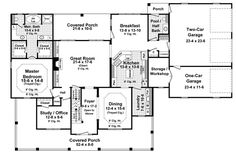 First Floor Plan of Country Farmhouse House Plan 59930