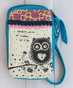 Another great find on #zulily! Blue & Cream 'Speaking Words Of Wisdom' Owl Wristlet #zulilyfinds