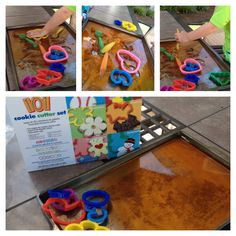 Jello and cookie cutters. Outside toddler exploration fun. Use 1 box of jello- refrigerate on cookie sheet- let them go to town!